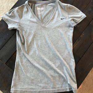 Grey Xs Nike Women's dri Fit v neck casual top